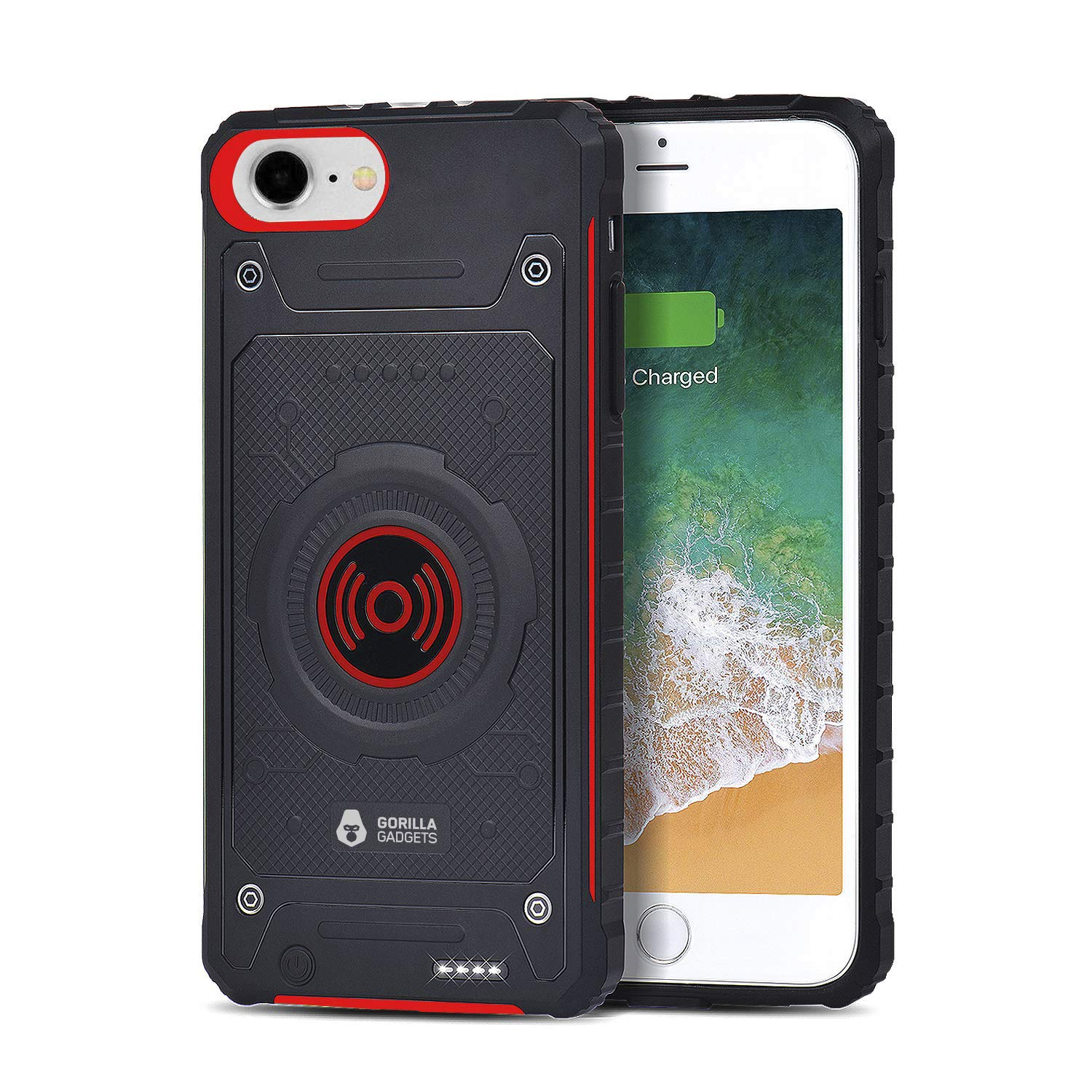 3200 mAh Qi Wireless Charging Battery Case Compatible with iPhone 6/6s/7/8 (4.7 in) by Gorilla Gadgets, Portable Rechargeable Extended Battery Protective Case with Lightning Port