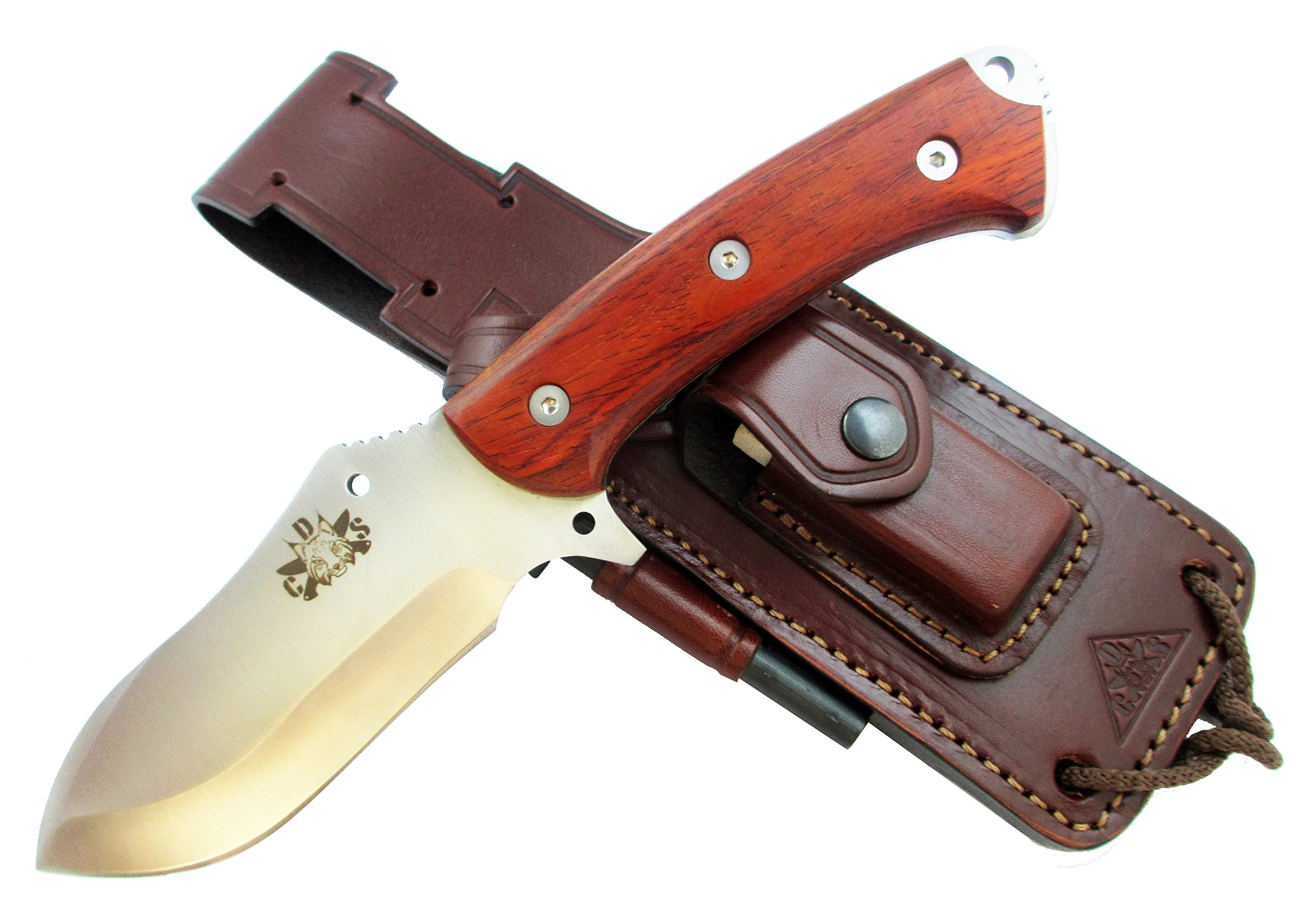 HISPANUSCOCO - Outdoor / Survival / Hunting Knife - Cocobolo wood handle, Stainless Steel MOVA-58 with genuine leather multi-positioned sheath, with sharpener stone and firesteel. Made in Spain.