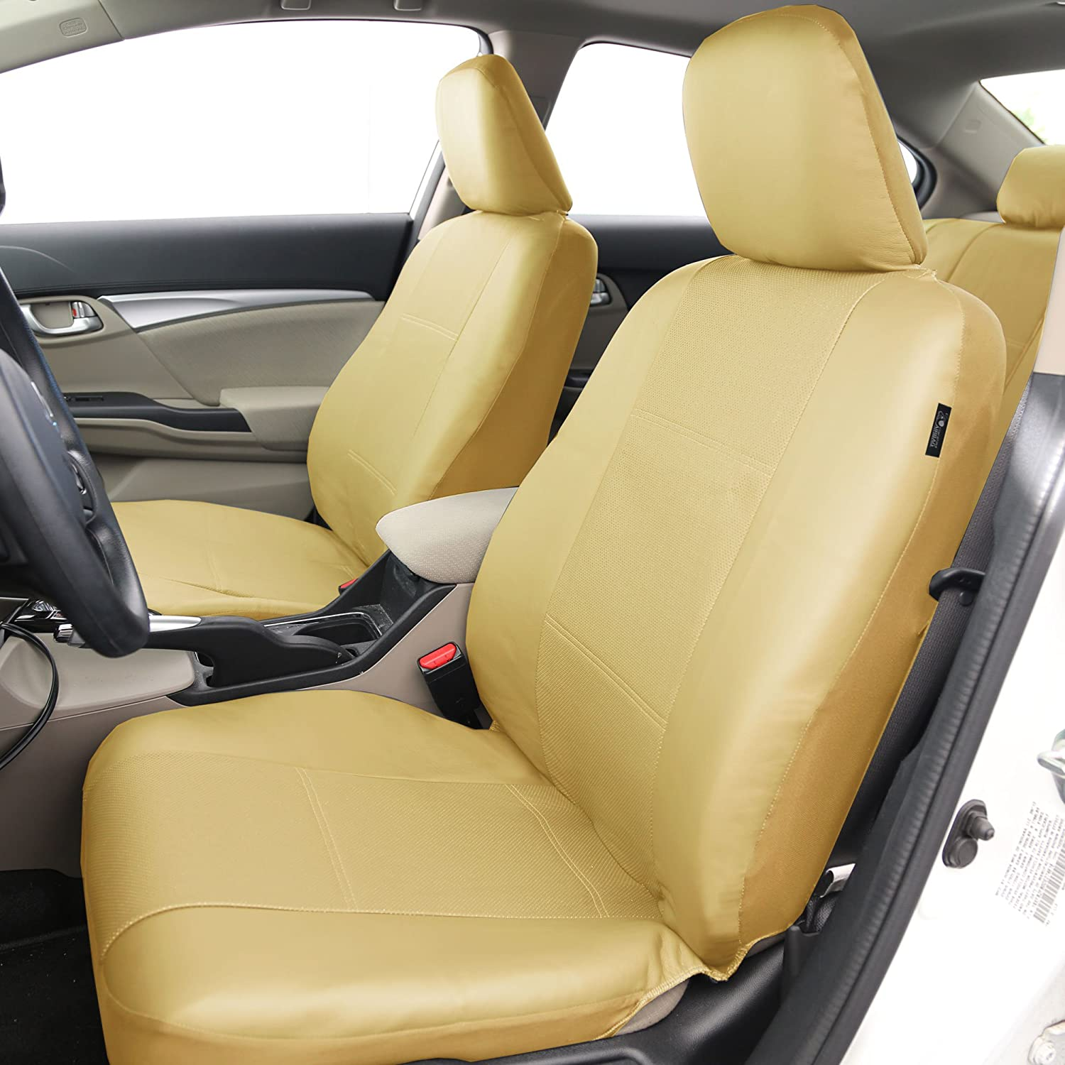 Airbag Compatible FH Group PU007BLACK102 Black Deluxe Leatherette Bucket Seat Cover Set of 2