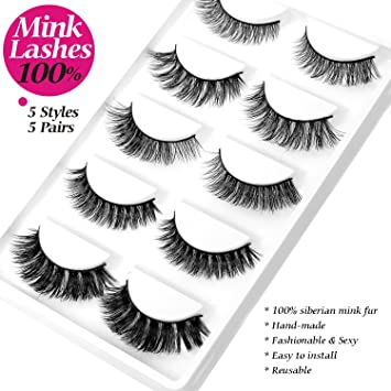 af39fc53e6c Amazon.com : MINK 3D Lashes Thick Curly Fashion False Eyelash 5 Different  Styles 5 Pairs/Pack 100% Siberian Mink Fur Fake Eyelashes Dramatic Makeup  Strip ...