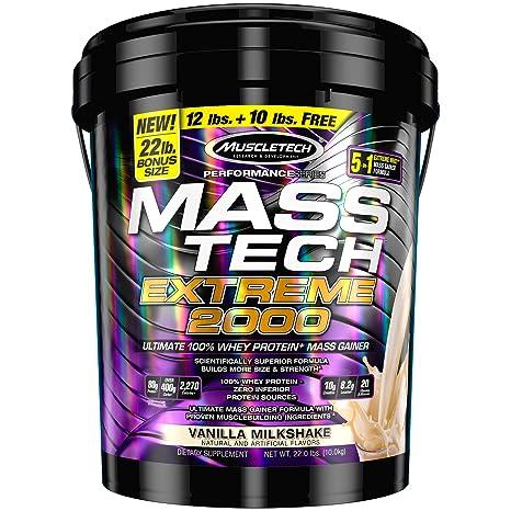 Muscletech Masstech Extreme 2000-10 kg (Vanilla Milk Shake) Mass & Weight Gainers at amazon