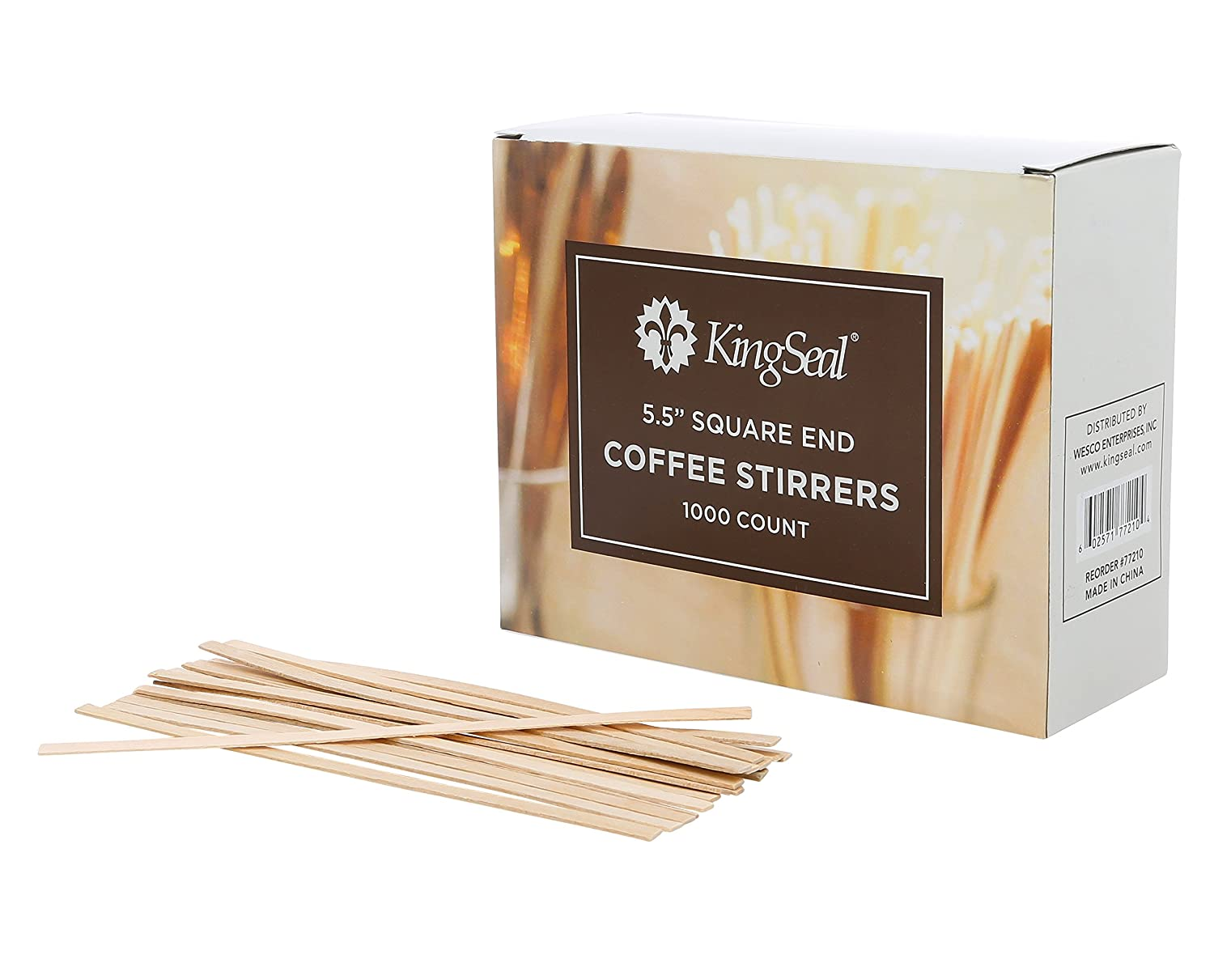 KingSeal Natural Birch Wood Coffee Stirrers, Stir Sticks, 5.5 Inch, Square End - 2 Packs of 1000 per Case Wesco