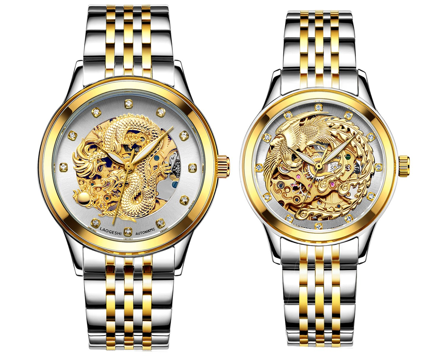 Couple Watches,Dragon and Phoenix Luxury Stainless Steel His and Hers Automatic Gold Wrist Watch 2 pcs (Silver)