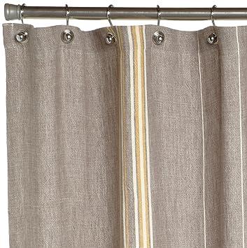 Amazon.com: Coyuchi Rustic Linen Shower Curtain, Gray with Mustard ...