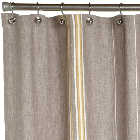 Coyuchi Rustic Linen Shower Curtain, Gray with Mustard-Ivory: Amazon ...