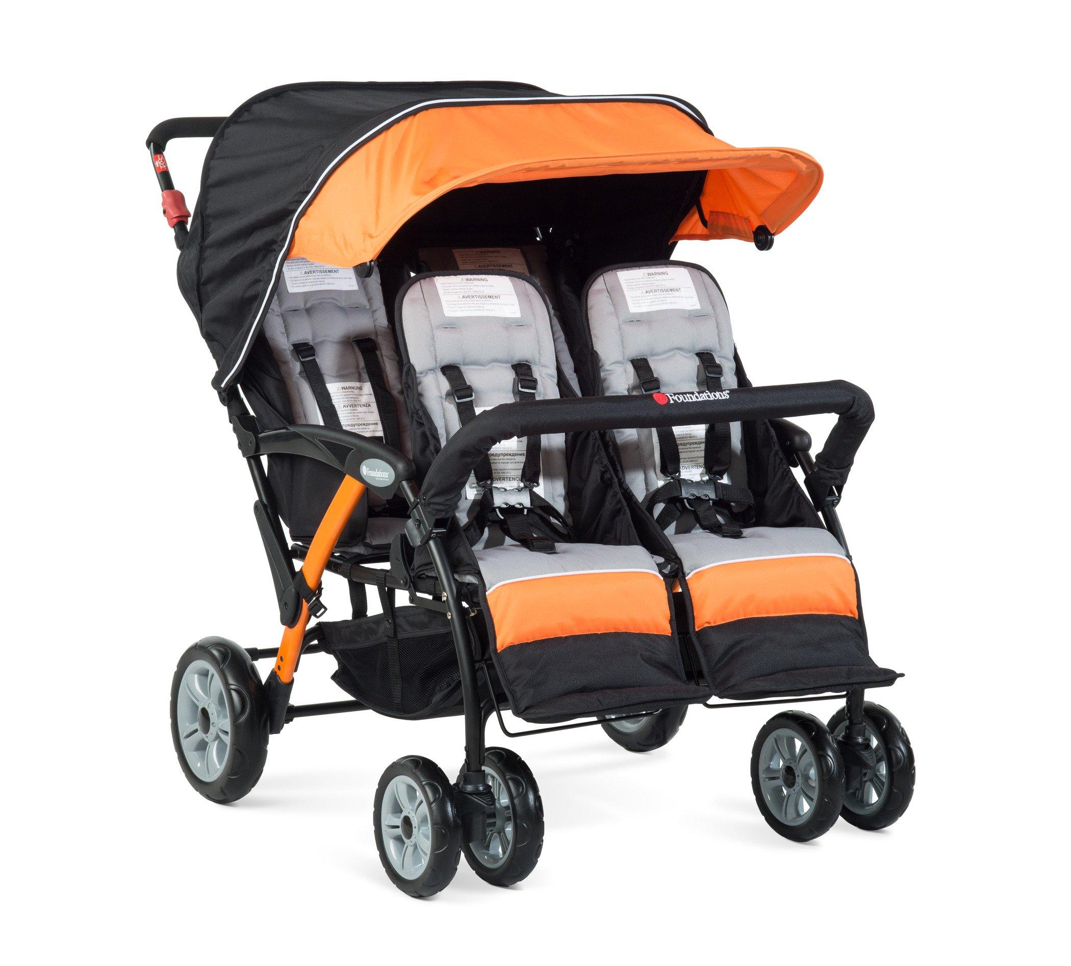 Foundations Quad Sport 4 Passenger Stroller, Orange