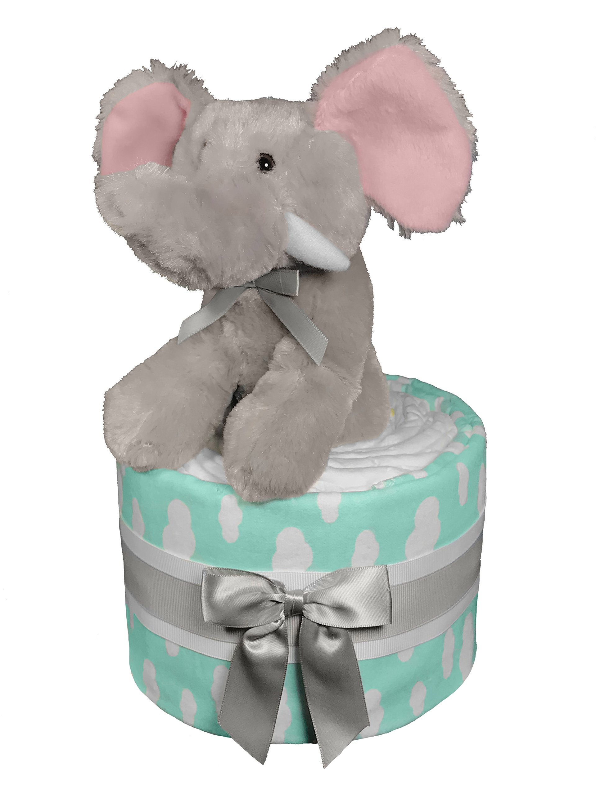 Elephant Diaper Cake for a Boy or Girl - Baby Shower Gift - Turquoise and Gray