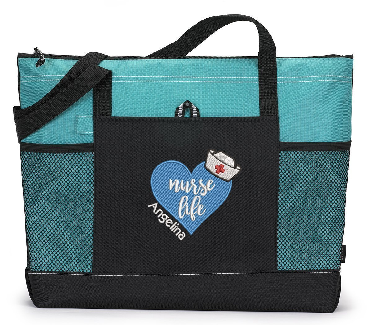 Nurse Life Heart, RN, LPN, LVN Personalized Embroidered Tote Bag