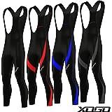 XOGO Mens Cycling Bib Tights Coolmax Padded Long Pant Biking Padded Trouser - Black - Red - Blue - Grey