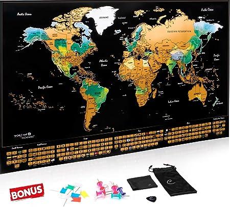 Escapades Mapa Mundi rascar XXL, edición Original con Las Banderas de Todos los países. El Regalo Ideal para los viajeros. Tamaño Grande: 69x44 cm + Accesorios Gratis: Amazon.es: Hogar