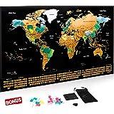 Escapades Mapa Mundi rascar XXL, edición Original con Las Banderas de Todos los países. El Regalo Ideal para los viajeros. Tamaño Grande: 69x44 cm + Accesorios Gratis