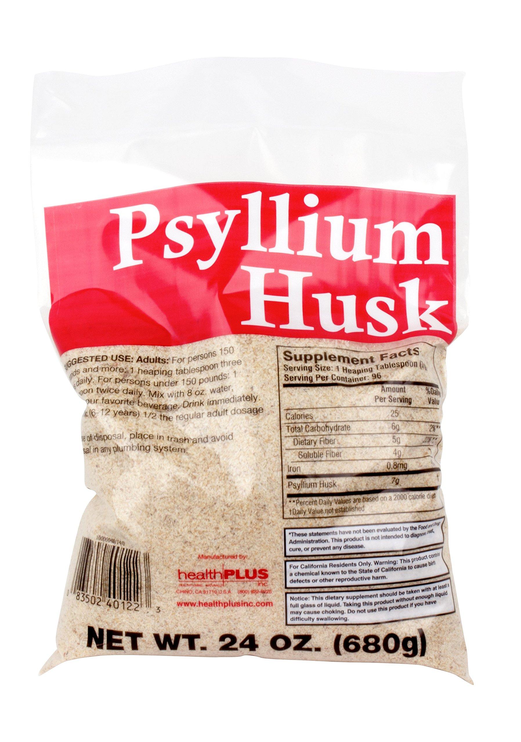 Health Plus 100% Pure Psyllium Husk Bags, 24 Ounce