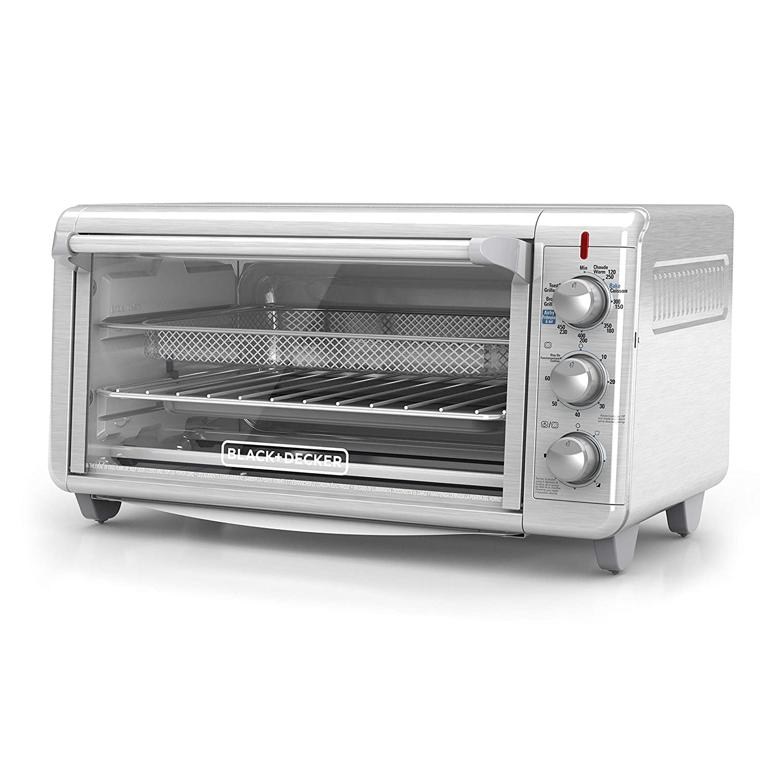 "BLACK+DECKER TO3265XSSD Extra Wide Crisp 'N Bake Air Fry Toaster Oven, Fits 9"" x 13"" Pan, Silver (Renewed)"