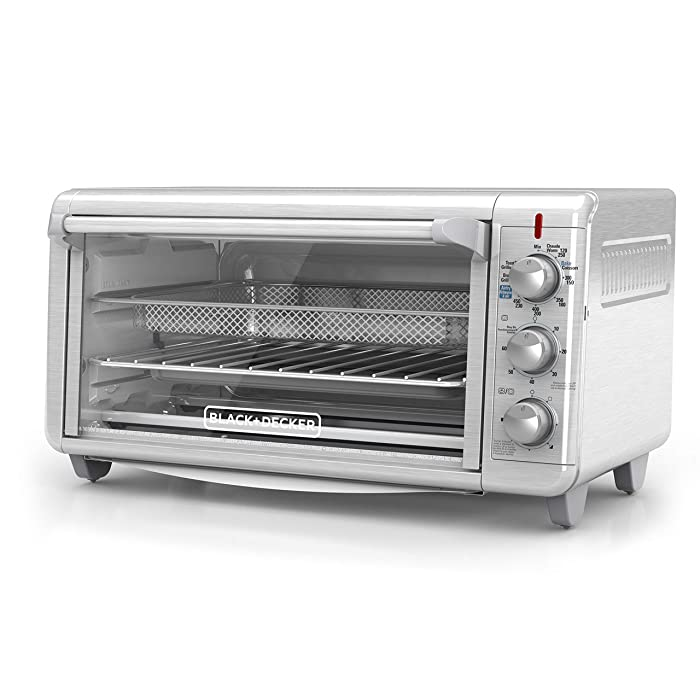 """BLACK+DECKER TO3265XSSD Extra Wide Crisp 'N Bake Air Fry Toaster Oven, Fits 9"""" x 13"""" Pan, Silver (Renewed)"""
