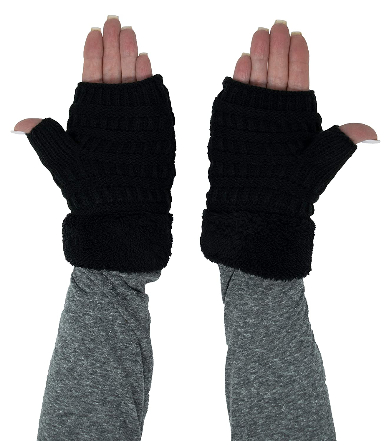 FG-6020a-06 Fingerless Fuzzy Lined Knit Glove: Black at Amazon Womens Clothing store: