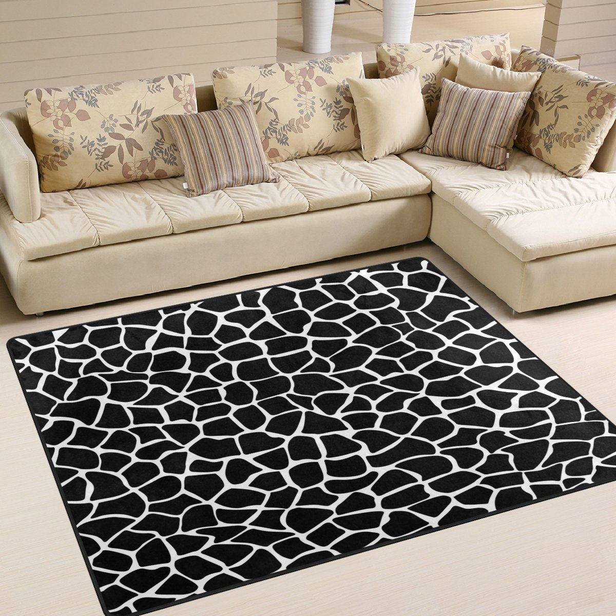 ALAZA Black White Giraffe Animal Print Area Rug Rugs for Living Room Bedroom 5'3 x 4' g3663908p147c162s244