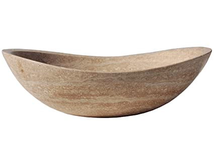 Honed Beige Travertine Natural Stone Canoe Vessel Sink - Stone ...