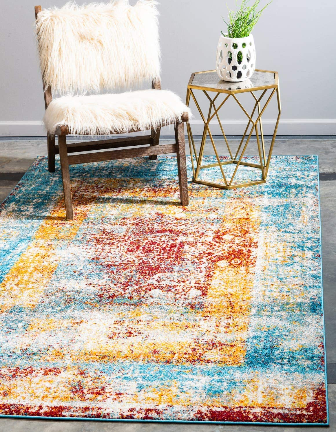 Unique Loom Rosso Collection Vintage Traditional Distressed Multi Area Rug 5 0 x 8 0