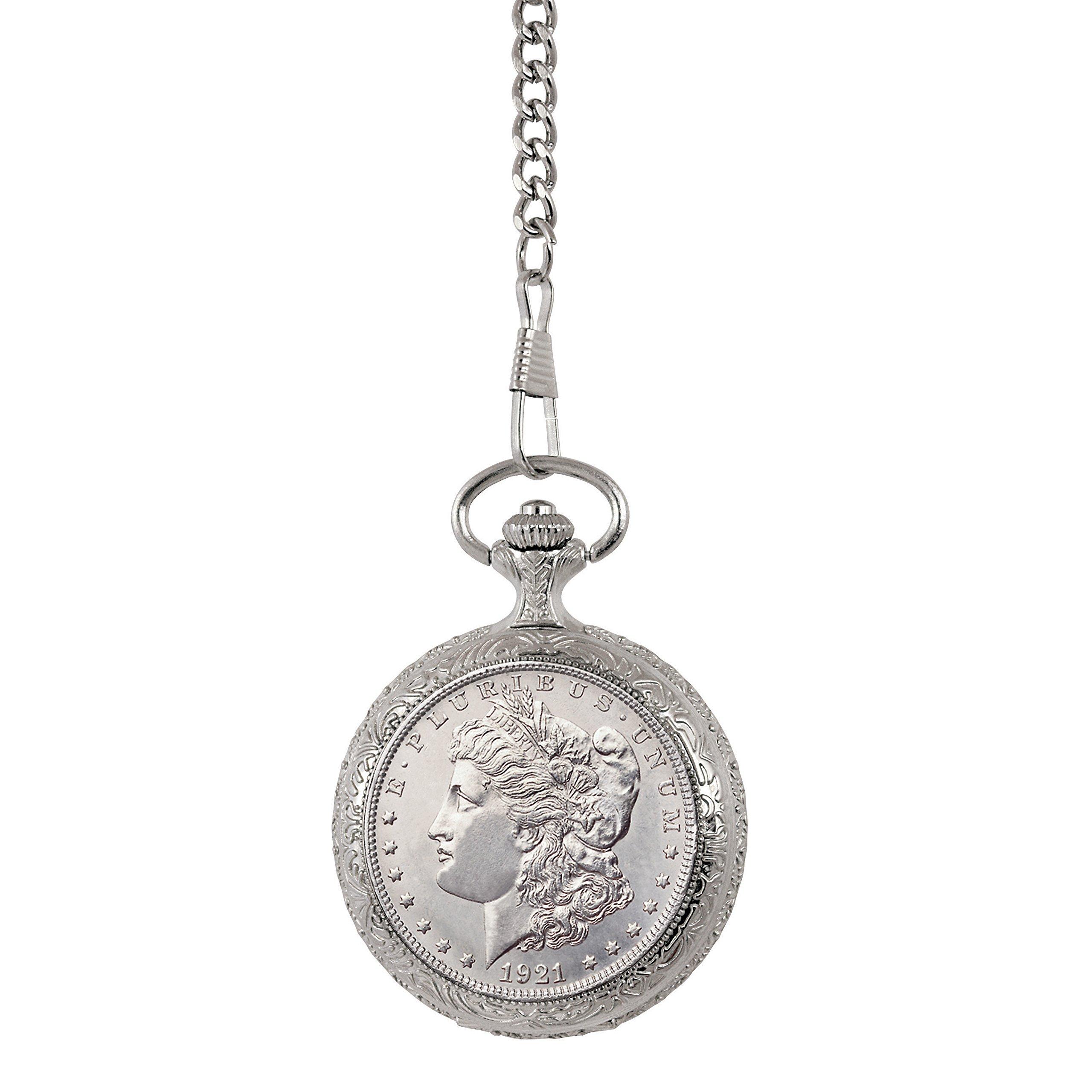 Brilliant Uncirculated Morgan Silver Dollar Pocket Watch by American Coin Treasures
