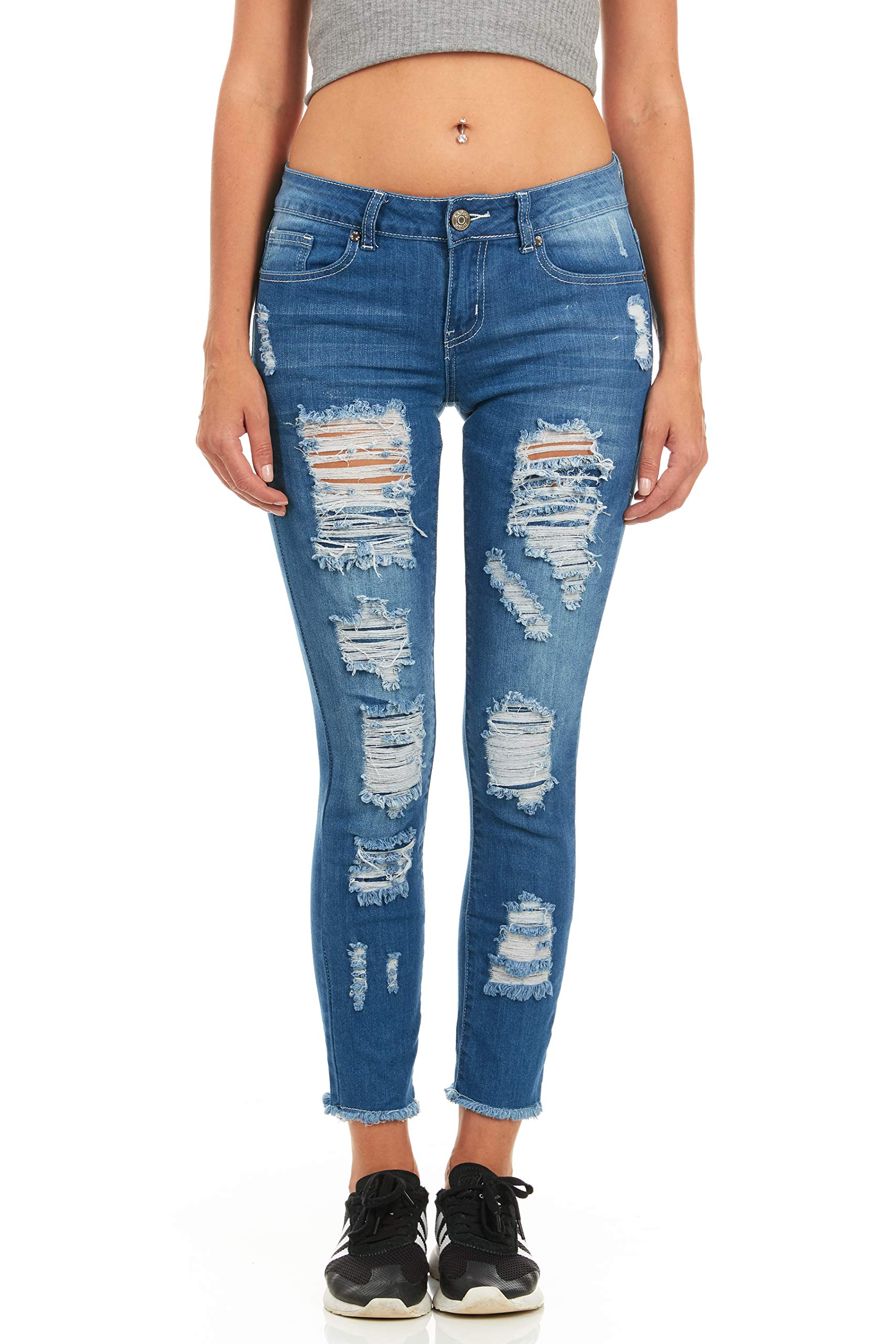 Cover Girl Mid-Rise Distressed Skinny Jeans for Women Juniors Size 1 Blue Step Hem