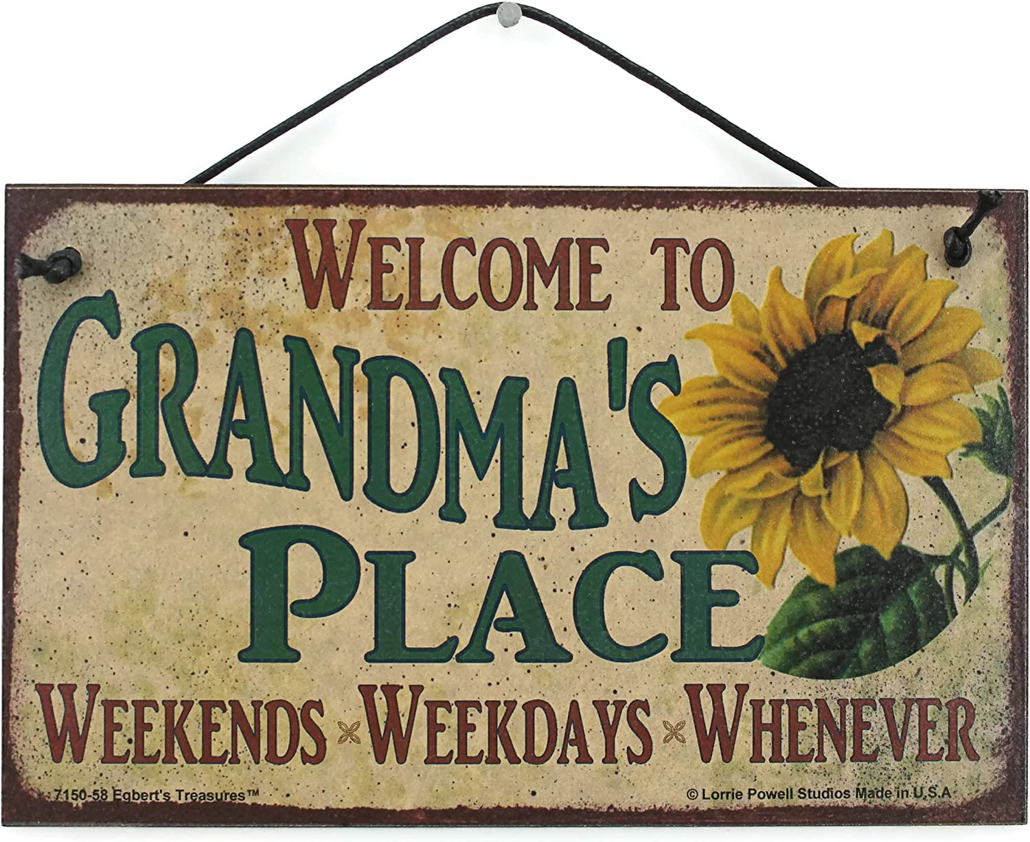 Egbert's Treasures 5x8 Vintage Style Sign with Sunflower Saying, Welcome to Grandma's Place Weekends, Weekdays, Whenever Decorative Fun Universal Household Family Signs for Grandparents