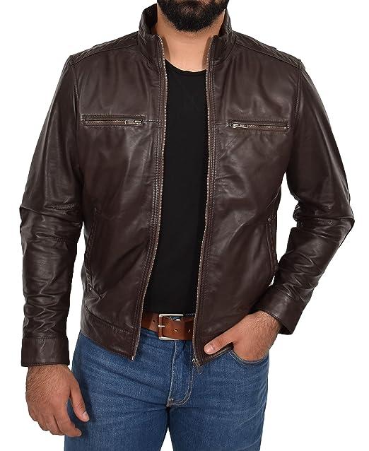 Amazon.com: Chaqueta de cuero suave para hombre, estilo ...