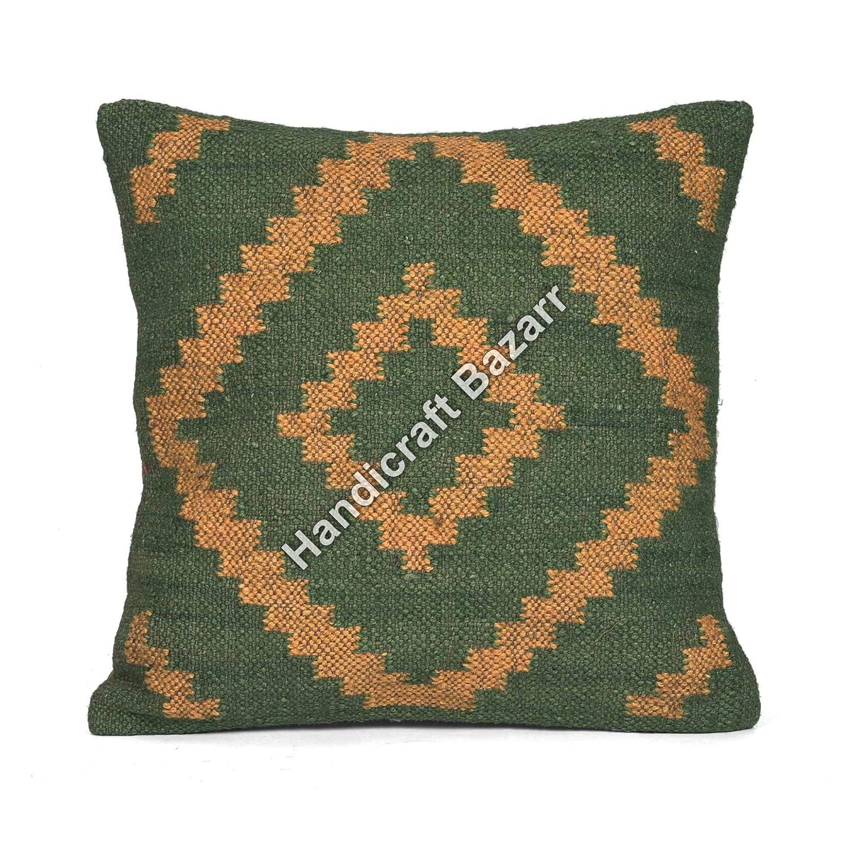 Handwoven Indian Vintage Outdoor Back Cushion Cover Vintage Indian Handmade Couch Cushion Cover Ethnic 18 Sofa Decorative Floor Pillow Indian Cushion Indian Killim Wool Jute Pillow