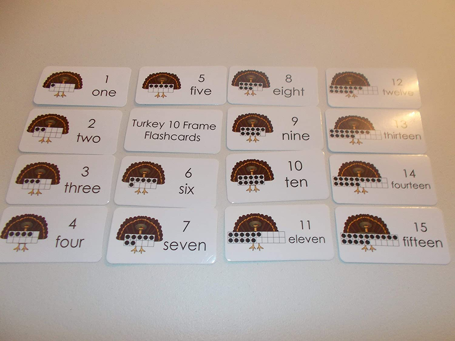 20 Laminated Turkey 10 Frame Math Flashcards.