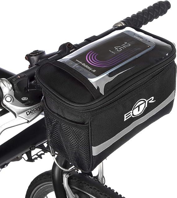 BTR - Alforja Bolsa de Almacenamiento para Manillar de Bicicleta con Soporte para mapas y GPS & Pantalla Transparente de PVC para Móvil o Tableta: Amazon.es: Deportes y aire libre
