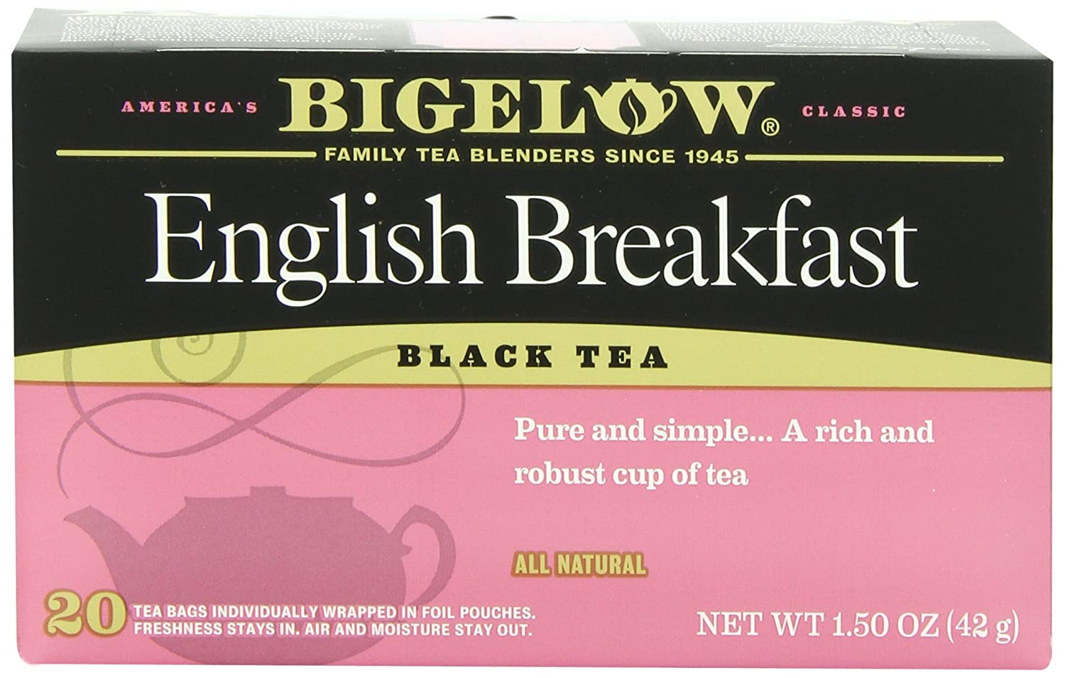 Bigelow French Vanilla Tea 20 Bags (Pack of 6) Caffeinated Individual Black Tea Bags, for Hot Tea or Iced Tea, Drink Plain or Sweetened with Honey or Sugar 072310001657