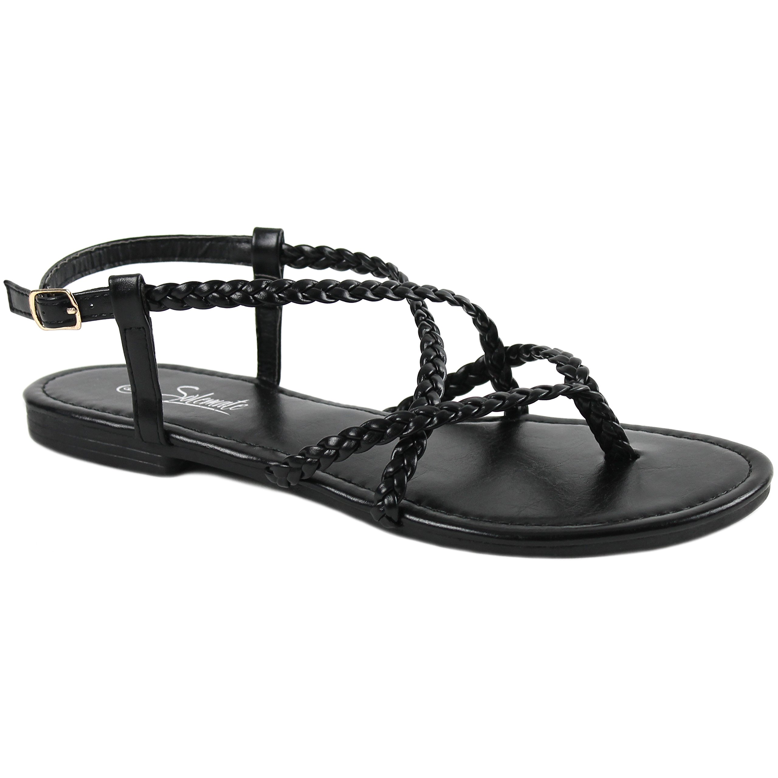 Solemate Women's Braided Strappy Gladiator Thong T Strap Flat Sandals (8 B(M) US, Black)
