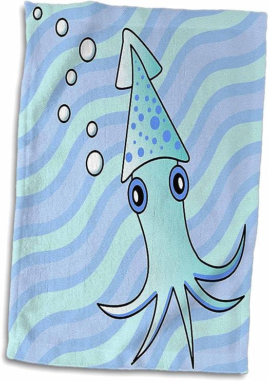 3D Rose Cute Light Blue Squid TWL/_13791/_1 Towel 15 x 22