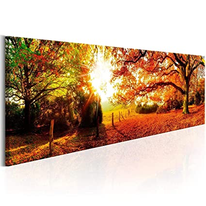 Red Forest Wall Art Living Room Wall Decor Long Nature Painting Large Canvas Artwork Contemporary Pictures Modern Landscape Green Trees Roads Sunrise