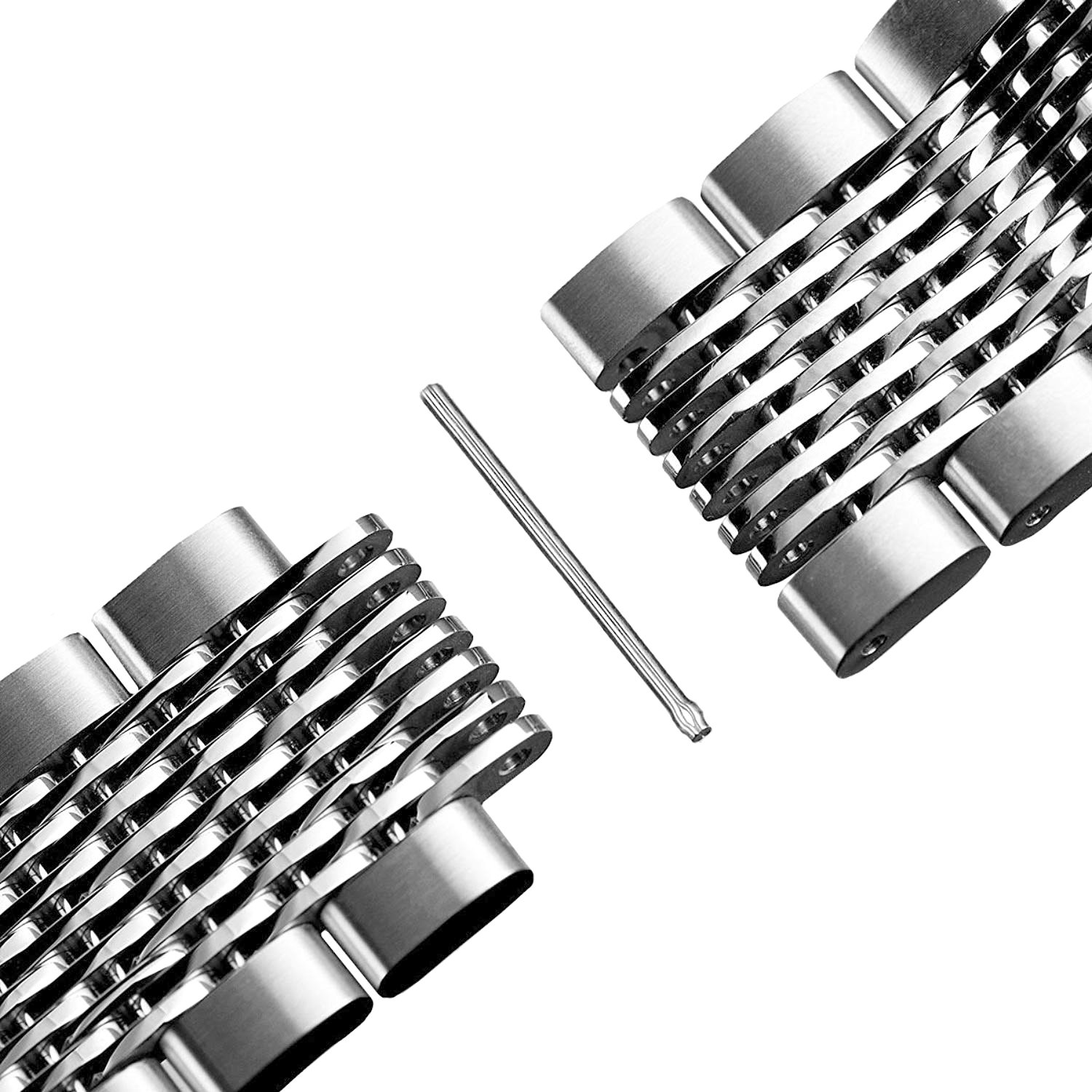 Solid Mesh Stainless Steel Bracelets 20mm/22mm/24mm Watch Bands Deployment Buckle Brushed/Polished Strap for Men Women by Hstrap (Image #3)