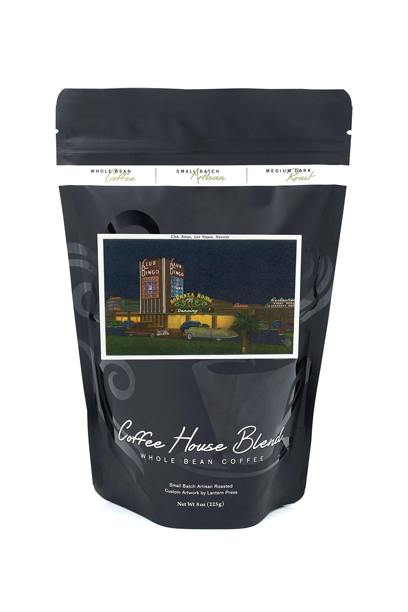 Las Vegas, Nevada - Exterior View of Club Bingo (8oz Whole Bean Small Batch Artisan Coffee - Bold & Strong Medium Dark Roast w/Artwork) by Lantern Press
