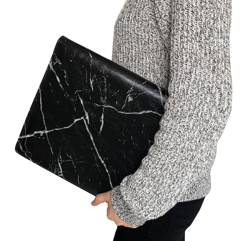 Z PLINRISE Luxury Marble Portfolio File Folder Document Resume Organizer,Padfolio File Holder Folders Letter Size,Standard 3 Ring Binder with Clipboard (Marble Black) by Z PLINRISE (Image #2)