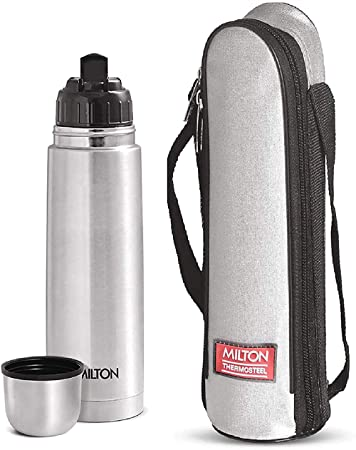 Milton Thermosteel Flip Lid Hot and Cold Flask, 1000 ml, Silver with Bag
