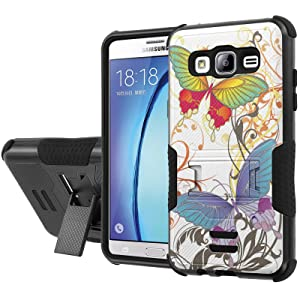Galaxy [On5] Armor Case [NakedShield] [Black/Black] Urban Shockproof Defender [Kick Stand] - [White Butterfly] for Samsung Galaxy [On5]