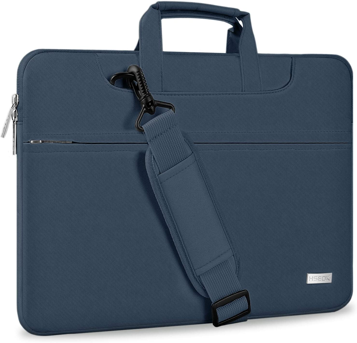 "Hseok Laptop Shoulder Bag 13 13.3 13.5 Inch Briefcase, Compatible 13.3 MacBook Air/Pro, XPS 13, Surface Book 13.5"" Spill-Resistant Handbag with Shoulder Strap for Most 13""-13.5"" Notebook, Dark Blue"