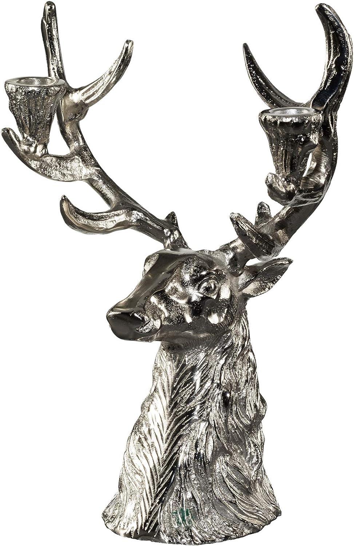 Silber 41,5x19,5x14 cm Gilde Kerzenst/änder Geweih aus Aluminium mit Holzfu/ß 2-Teiliges Set
