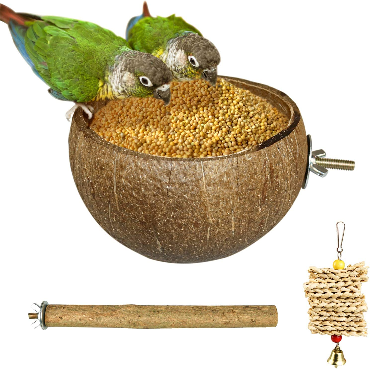 3 Packs Parrot Coconut Feeder Set,Natural Coconut Parrot Feeding Bowl Cotton Rope Stand Circle Station Board Suitable for Small Medium Parakeet,cocktiel,Lovebird (Style-1)