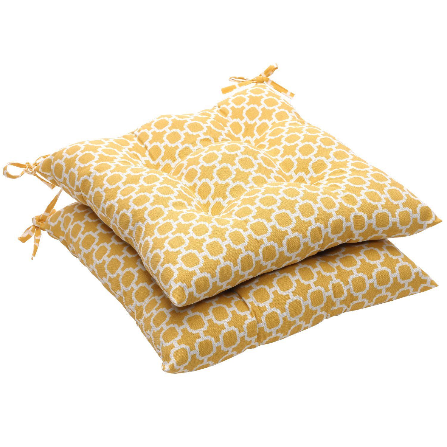 Pillow Perfect Indoor Outdoor Geometric Tufted Seat Cushion, 19 L x 18-1 2 W x 5 D, Yellow White