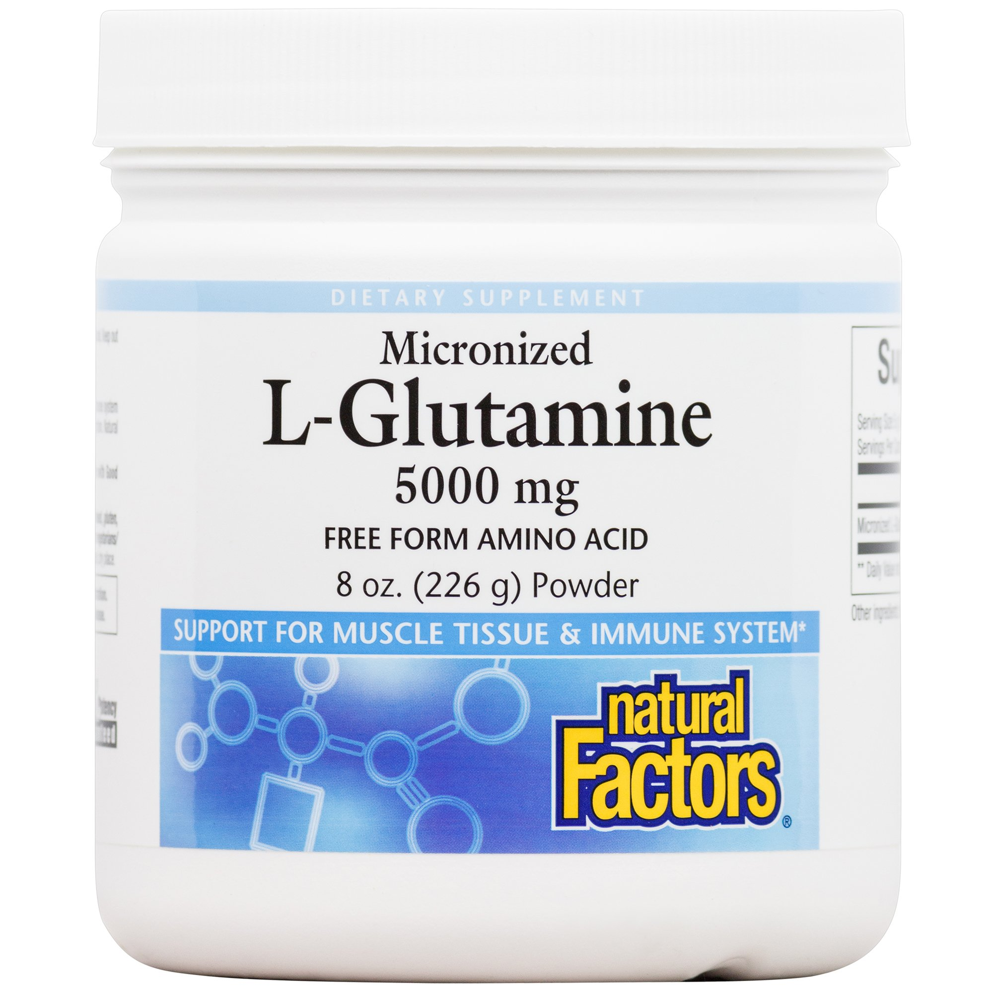 Natural Factors - Micronized L-Glutamine 5000mg, Support for Muscle Tissue & Immune System, 45 Servings (8 oz)