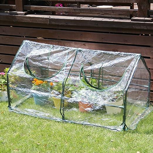 sungmor 2 ventana flor de efecto invernadero planta crecer casa W/fuerte Simogas tambien marco de acero y transparente cubierta de PVC, Vale la Pena jardín invernadero: Amazon.es: Jardín