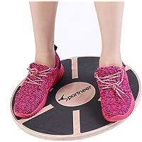 Sportneer Wooden Wobble Balance Board Anti Slip Surface Gym Fitness Exercise Rehabilitation Training, 40cm