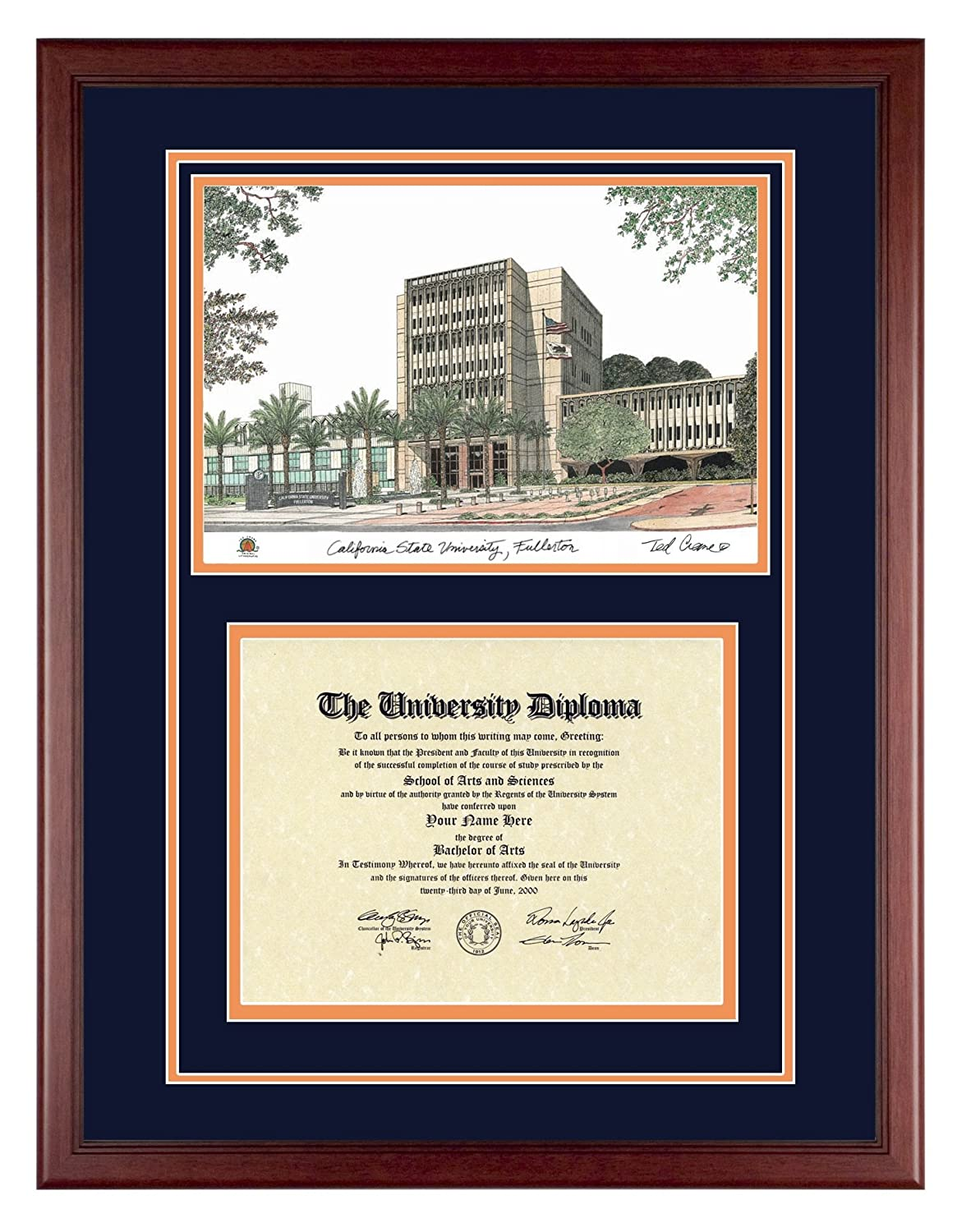 Amazon.com: CAL STATE FULLERTON Diploma Frame with Artwork in ...