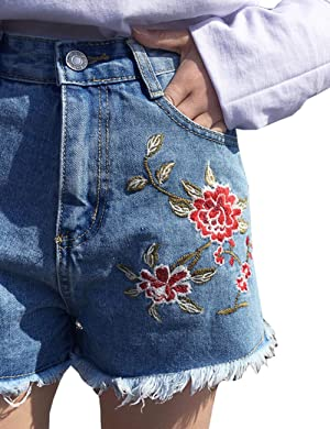 Womens Floral Embroidery Washed Denim Shorts Jeans (X-Small, Blue)