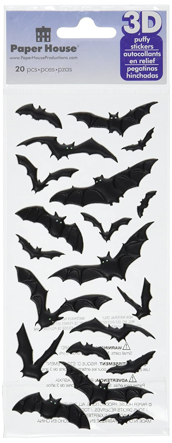 Paper House Productions Halloween Bats 3D Puffy Stickers, STP-0043E