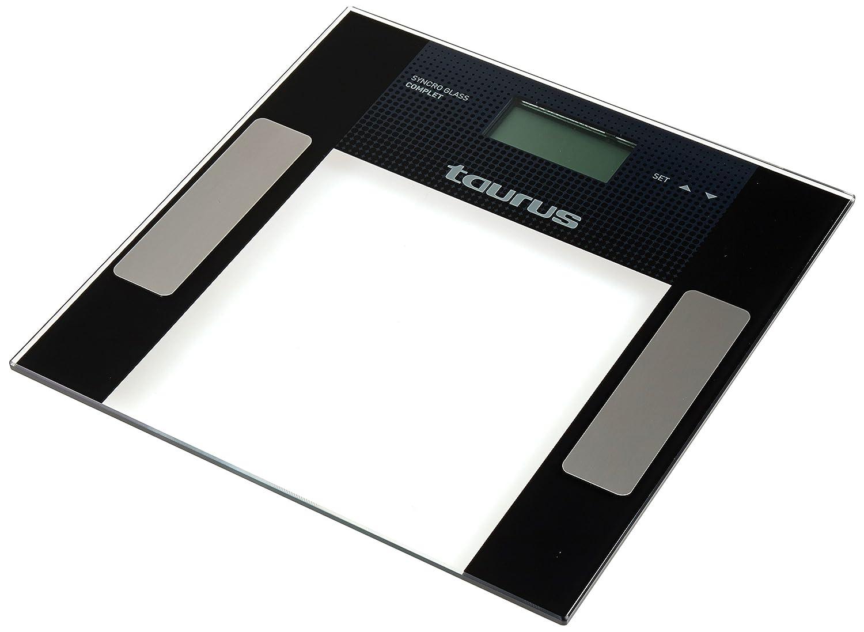 Taurus Syncro Glass Complet - Báscula de baño, 150 kg, color negro: Taurus: Amazon.es: Salud y cuidado personal