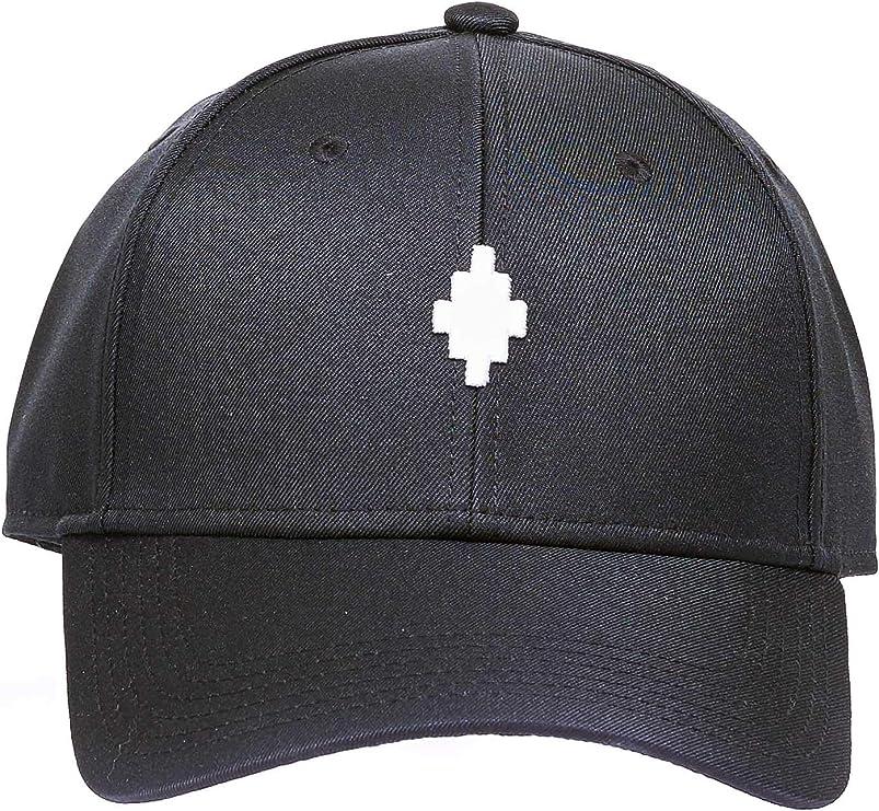 MARCELO BURLON Cappello Nero, Modello Cross Baseball, Ricamo Logo Frontale, Etichetta Logo Starter, Ricamo Logo Starter sul Retro, Cappello Regolabile con Fibbia sul Retro